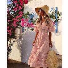 2019夏新款歐美外貿女裝亞馬遜爆款V領短袖鏤空單排扣蕾絲連衣裙