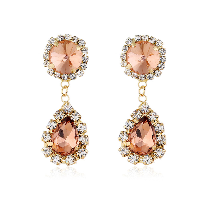 Fashion Diamond Bohemian Vintage Floral Diamond Stud Earrings NHVA170473