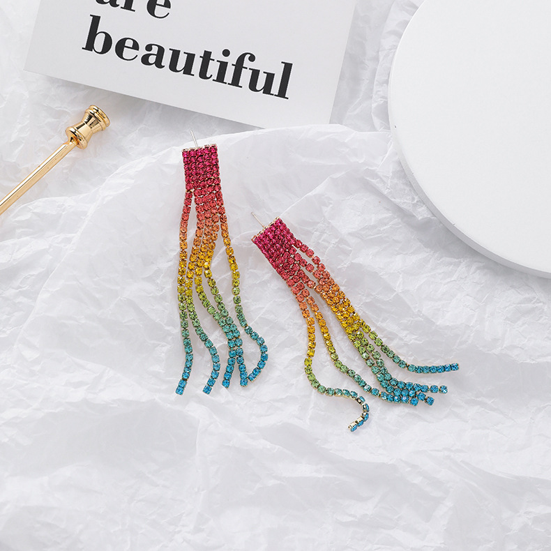 925 silver needle fashion color gradient rhinestone multi-layer tassel earrings rainbow long earrings NHMS181415