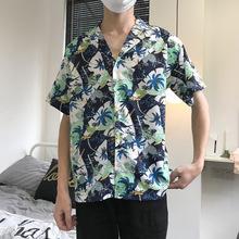 夏威夷椰樹花襯衫ulzzang沙灘海邊旅游度假chic短袖男女情侶裝潮