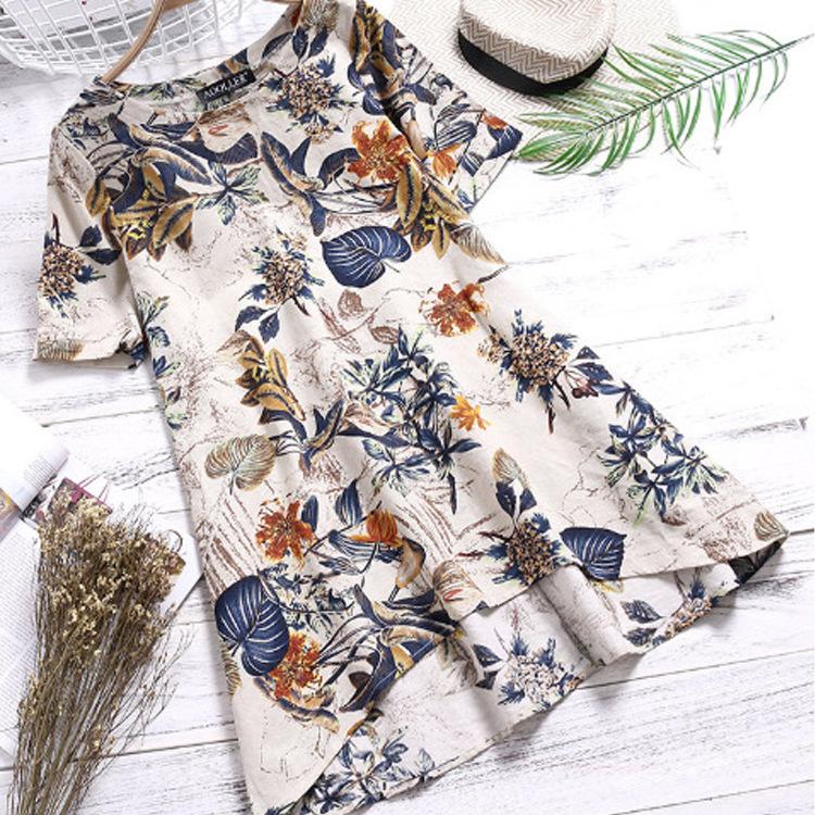 品质款2019春季外贸货源轻熟气质棉麻套头圆领宽松型女式衬衫