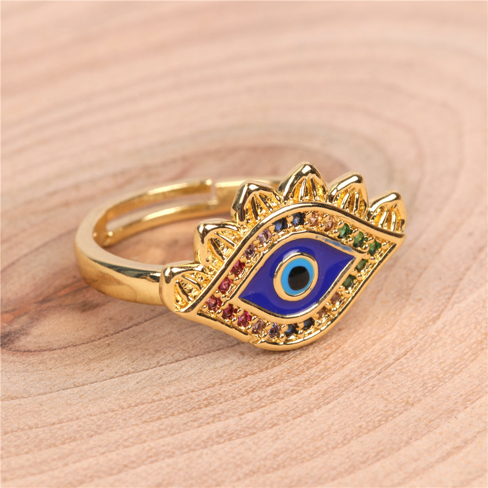 Micro Inlay Diamond Ring Personality Creative Devil's Eye Open Ring NHPY173273