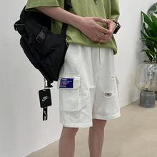 子俊男装夏季口袋装饰短裤男潮韩版破洞五分裤青少年水洗宽松中裤