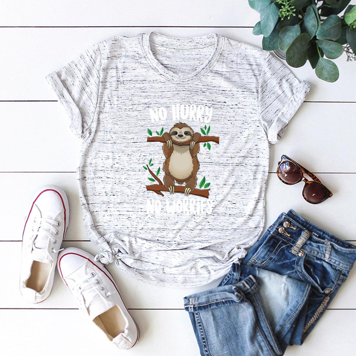 New simple cute fun sloth cotton short-sleeved women's T-shirt NHSN206426