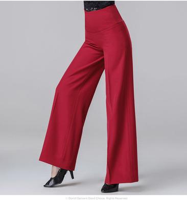 Wine black color Latin ballroom dance pants for women chacha rumba salsa dance high waist adult wide-leg pants for lady