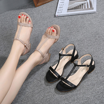 Heel women sandals European station versatile heel open toe fat sandals women large