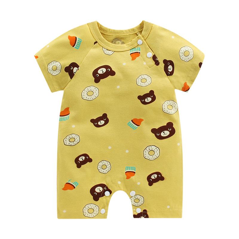 新款夏季服装 婴儿连体衣服哈衣 新生儿宝宝纯棉短袖薄款开裆爬服