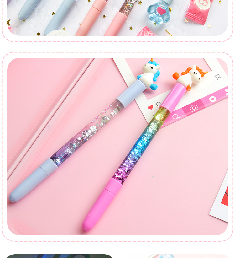 Cartoon into the oil quicksand gel pen creative light fairy fairy pen magic girl water pen student stationery NHHE196732