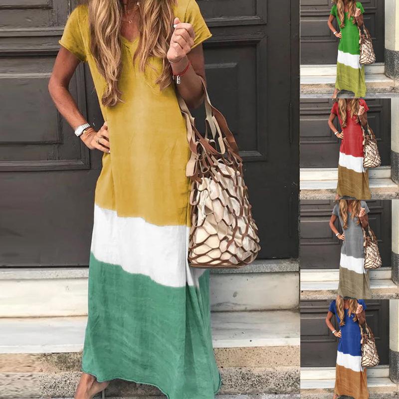 歐美EBAY時尚爆款 拼色連衣裙多色彩色條紋拼塊裙
