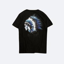 2019新款男士短袖t恤夏季时尚圆领印第安人物像印花丝光棉t恤男
