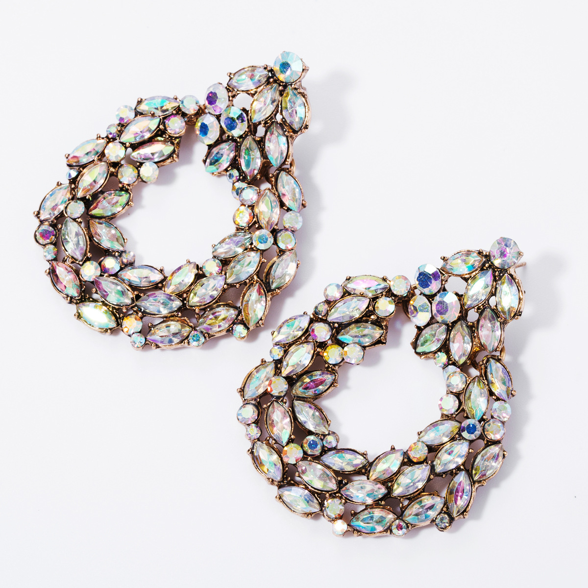 Earrings multilayer alloy diamonds AB color rhinestones European and American earrings female super flash full diamond earrings banquet cold wind NHJE174369