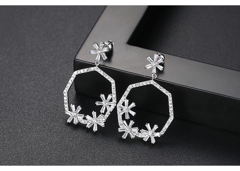 Stud earrings fashion creative simple wild party female copper inlaid zircon earrings gift NHTM180460