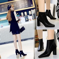 298-3 Slim Square Head, Thick heel and High heel Leather Stitching Knight Boots in European and American Fashion Sexy Night Club