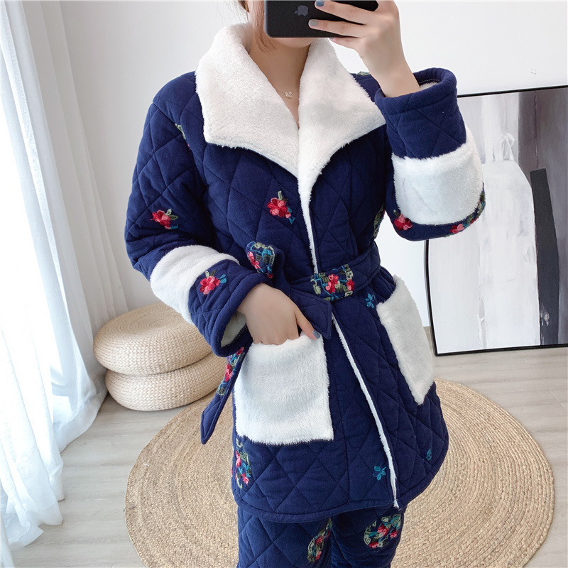 Pajamas with cotton, women's winter three-layer thickened and plush pajamas can wear cotton padded jacket, embroidered flannel home clothes in South Korea