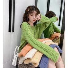 2019新款很仙的网红秋冬女装懒惰风毛衣宽松牛油果绿洋气针织衫女