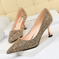 1266-2 European and American fashion metal heels, high heels, shallow pointed sexy nightclubs, single shoes and high heels