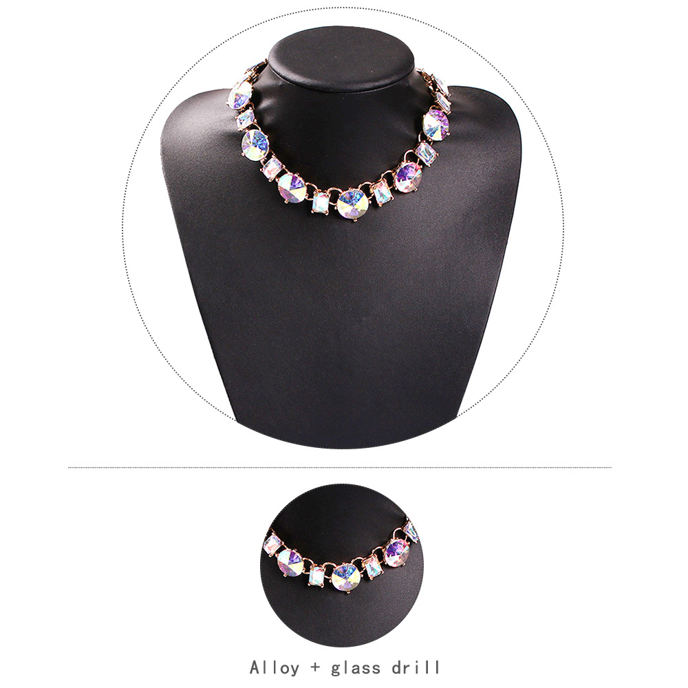 Fashion color glass rhinestone bright ins wind necklace NHMD144491