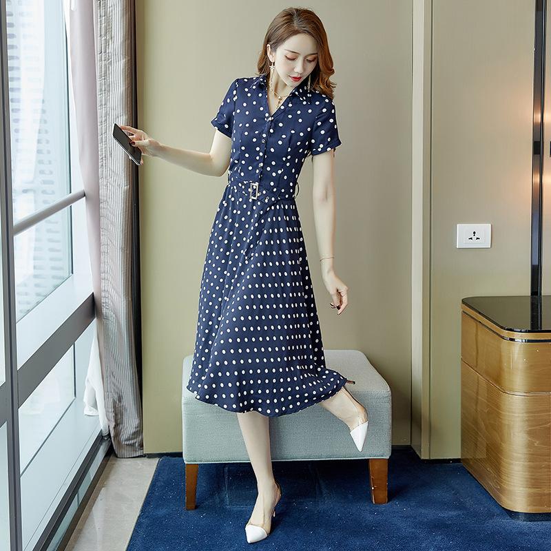 2019夏季韩版新款女装波点雪纺系带收腰气质中长款过膝蓝色连衣裙