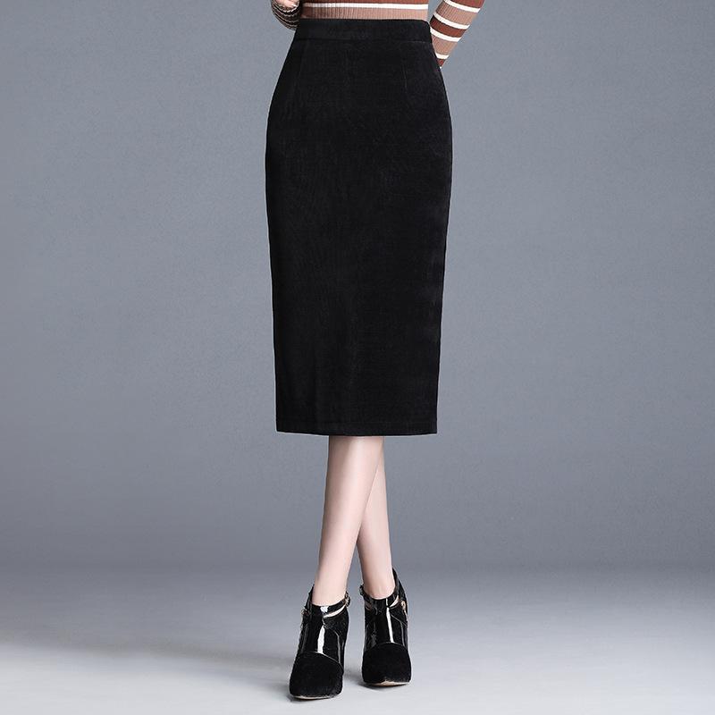 包裙女半身裙一步裙2019新款显瘦开叉包臀裙中长款灯芯绒半身裙秋