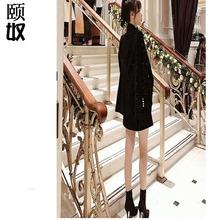 2019年春秋裝新款胖mm大碼顯瘦遮肉吊帶裙+小西裝兩件套裝裙加工