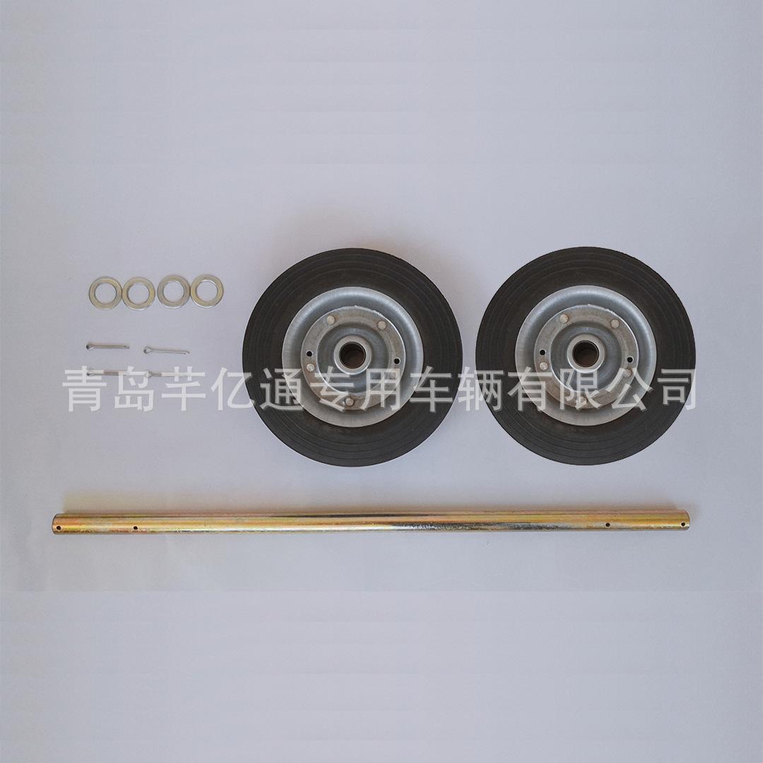 厂家直销8寸铁芯橡胶实心240L垃圾桶轮子实心轴批发穿心铁轮