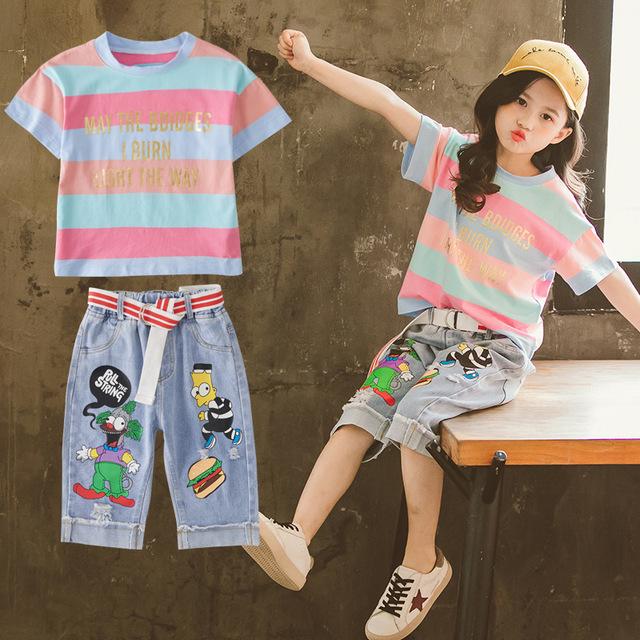 2019 cô gái mới sọc phù hợp với phiên bản Hàn Quốc của cô gái nhỏ thời trang nước ngoài quần denim hai bộ quần áo trẻ em Bộ đồ trẻ em