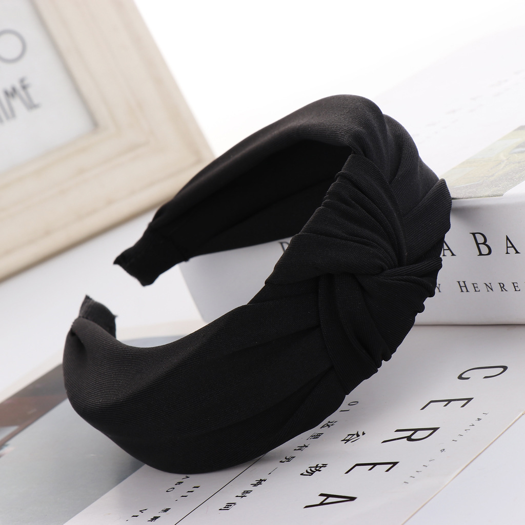 Sweet milk silk solid color knotted headband NHHV146887
