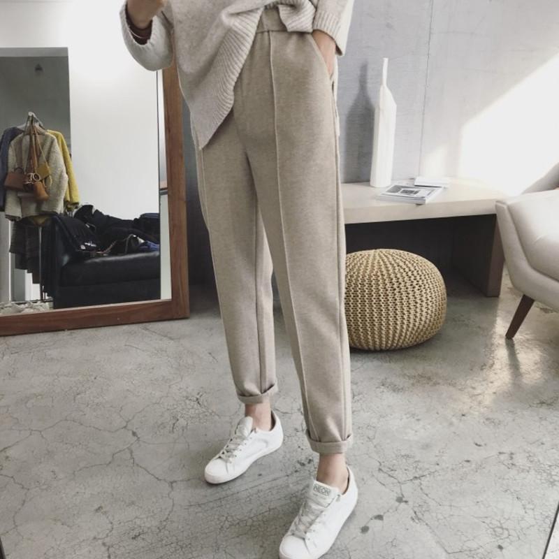 秋冬季加厚毛呢哈伦裤女2020韩版宽松休闲时尚直筒西装长裤