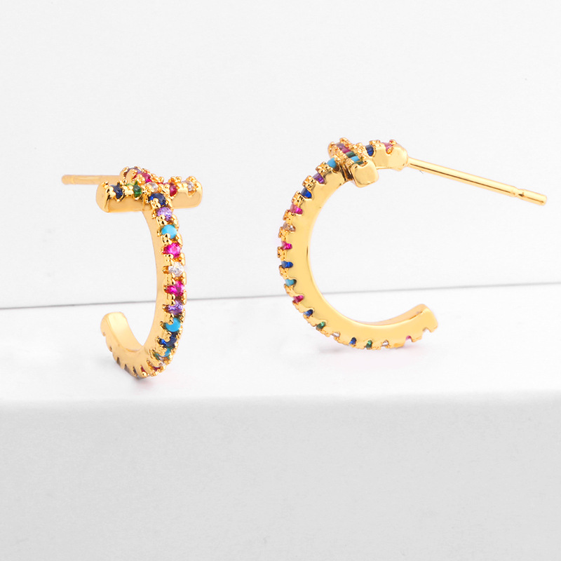 C type simple fashion colorful zircon earrings NHAS128266