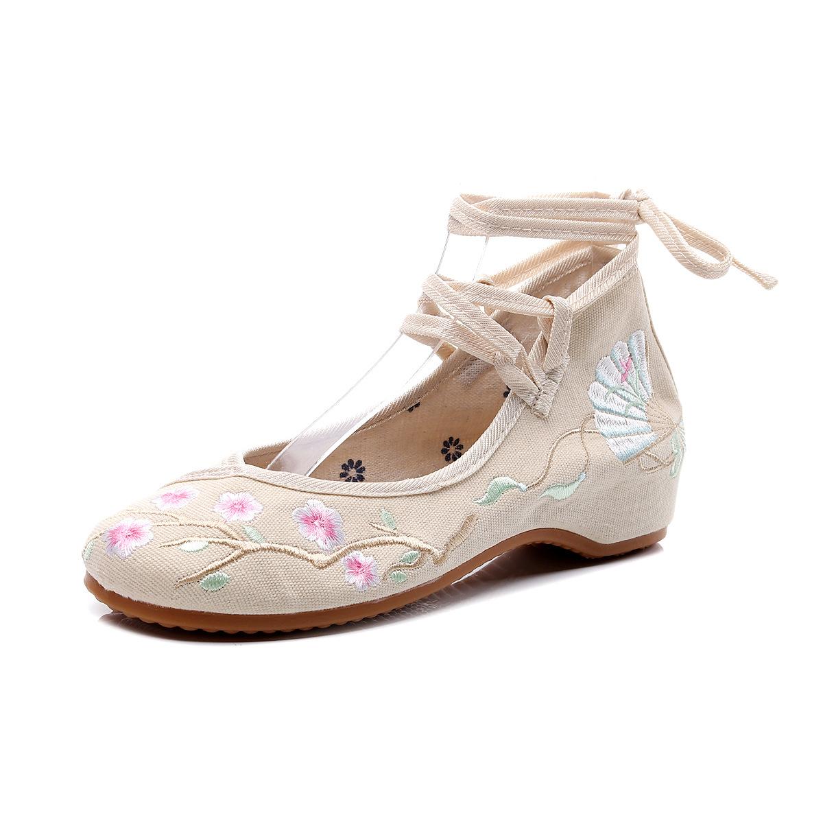 2019 أحذية قماشية مطرزة 3 سم على النمط العرقي أحذية الرقص المربعة hanfu