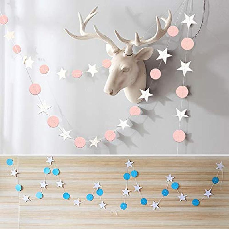 babyshower五角星圆形纸拉花宝宝儿童周岁生日派对装饰纸片串挂饰