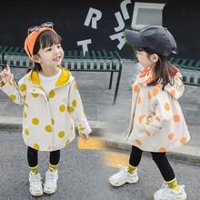 女童风衣外套2019秋季韩版新款圆点外套纯棉风衣女宝宝小童潮