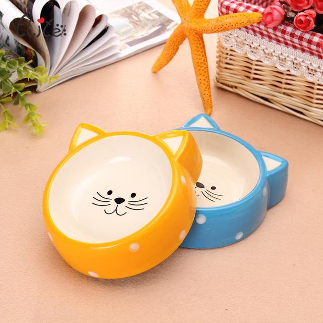 伊丽两用慢食碗宠物陶瓷碗狗猫可爱猫碗狗碗宠物碗橙色碗陶瓷猫碗