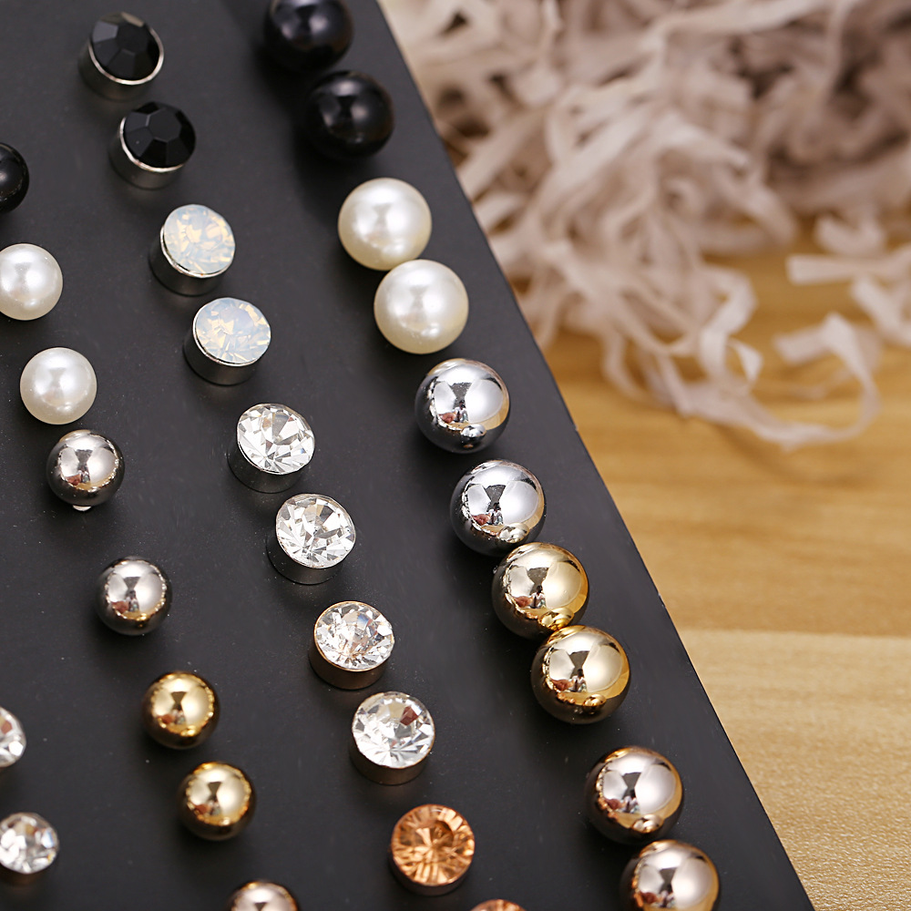 Creative fashion size pearl crystal earrings set 30 pairs NHPJ149961