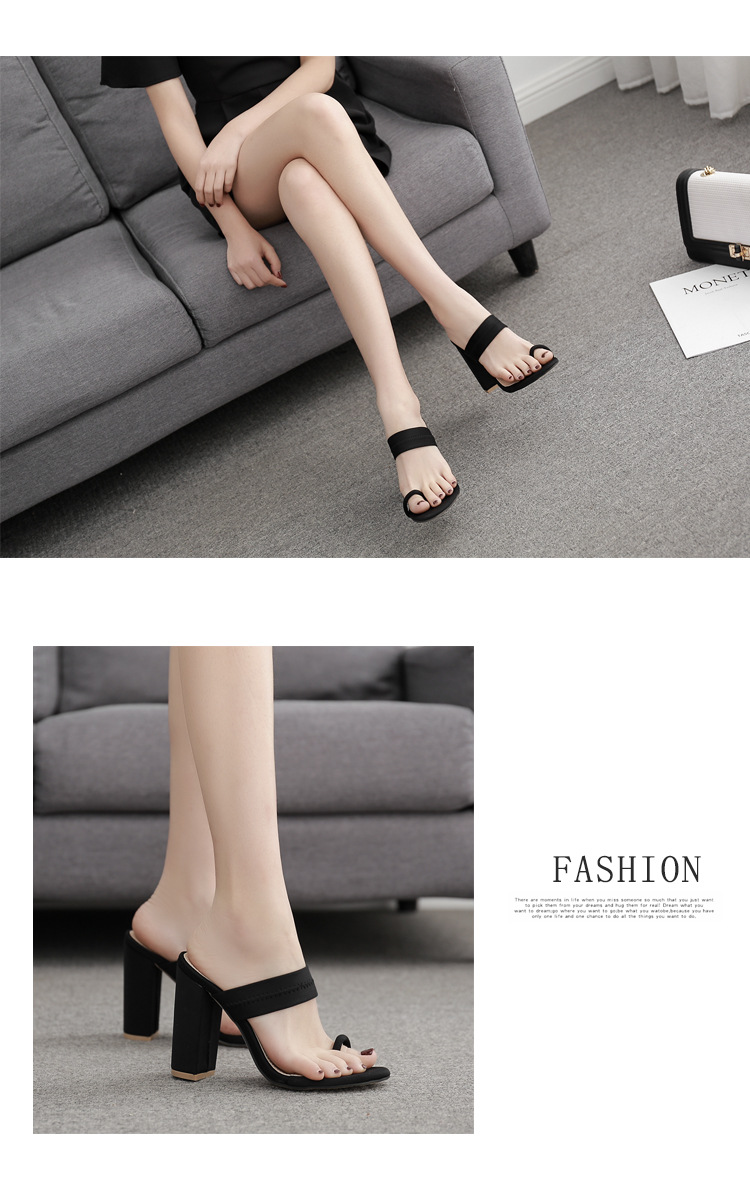 Spring and summer new fashion sexy thick heel high-heeled flip flops NHHU198554