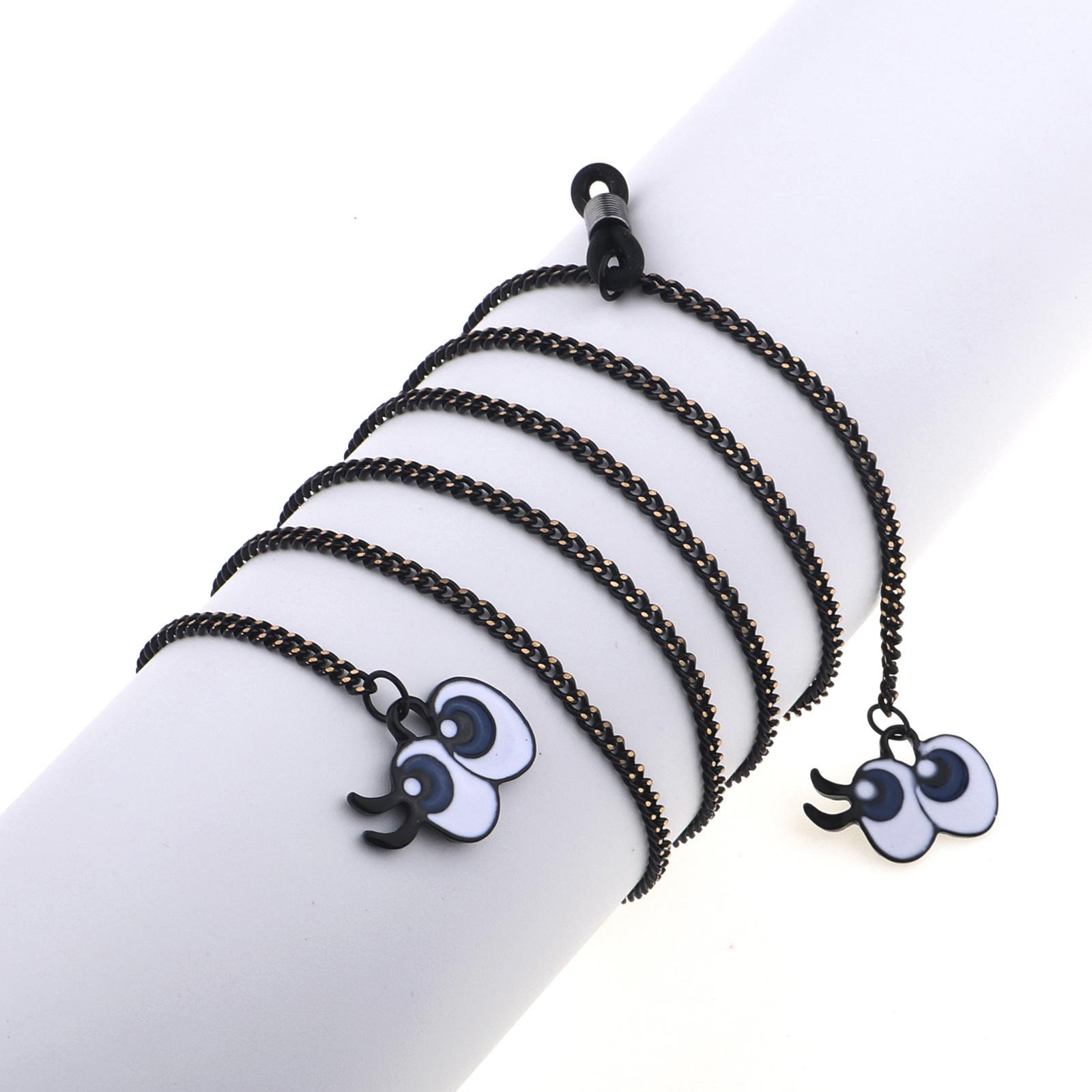 Fashion simple black cute eyes pendant glasses chain NHBC153887