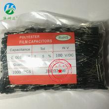 厂家直销CL11涤纶电容2A102J 0.001UF/100V正品环保 长期供应