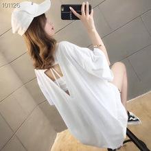 【包郵】短袖女韓版夏季中長款印花字母鏤空性感寬松上衣女T恤潮