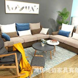 布艺沙发客厅实木沙发大小户型冬夏两用组合沙发转角L形沙发家具