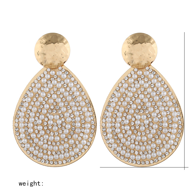 Fashion texture alloy artificial gemstone pearl earrings NHVA155068