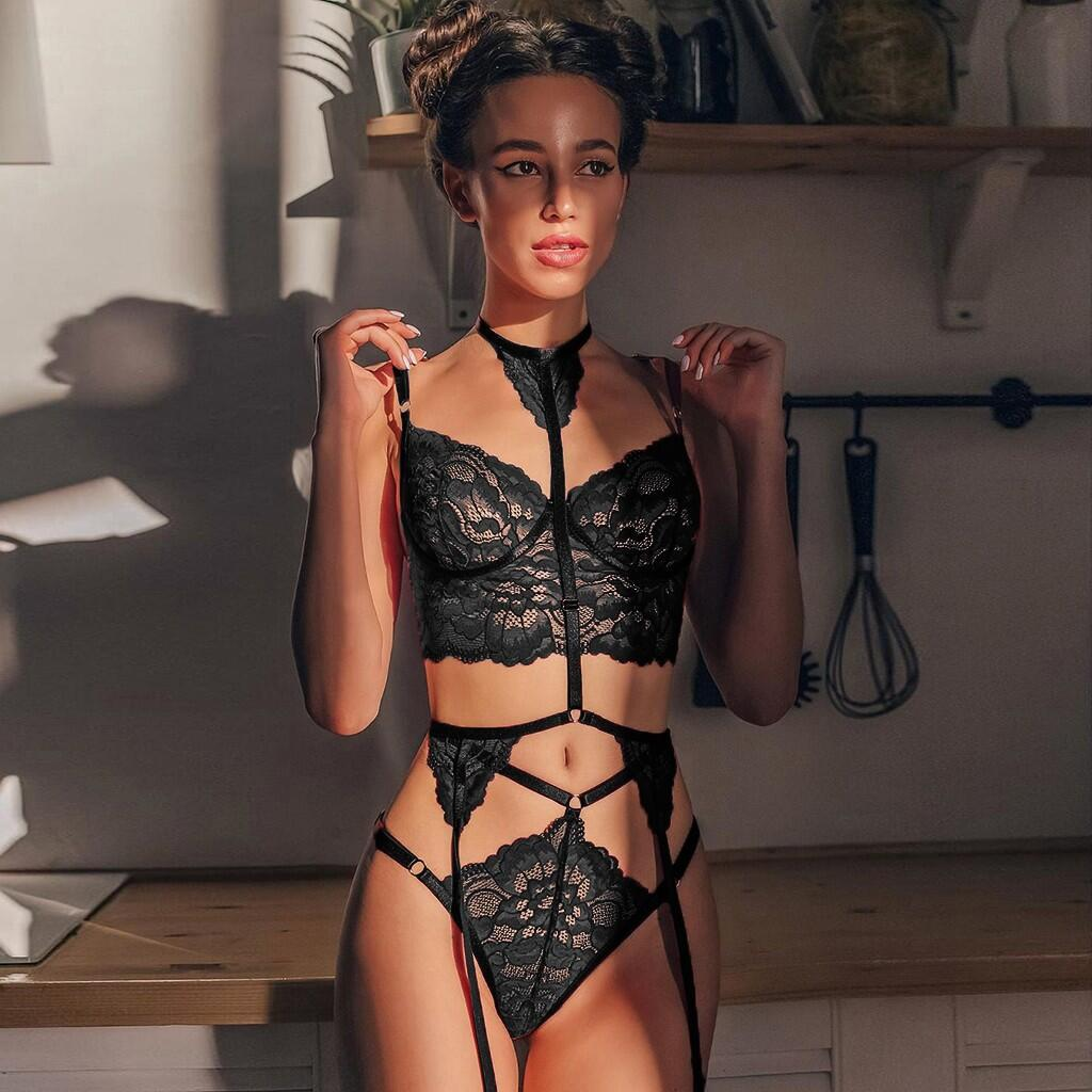 women's lace strap three-point sexy lingerie suit nihaostyles wholesale clothing NSFQQ78288