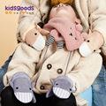 2020新款儿童手套秋冬季户外连指加绒挂脖麂皮绒系列可爱造型保暖