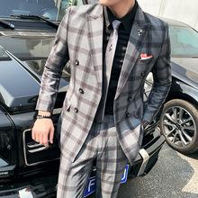 秋冬双排扣西服套装男两件套青年格子韩版修身西装A470-TZ20-P225