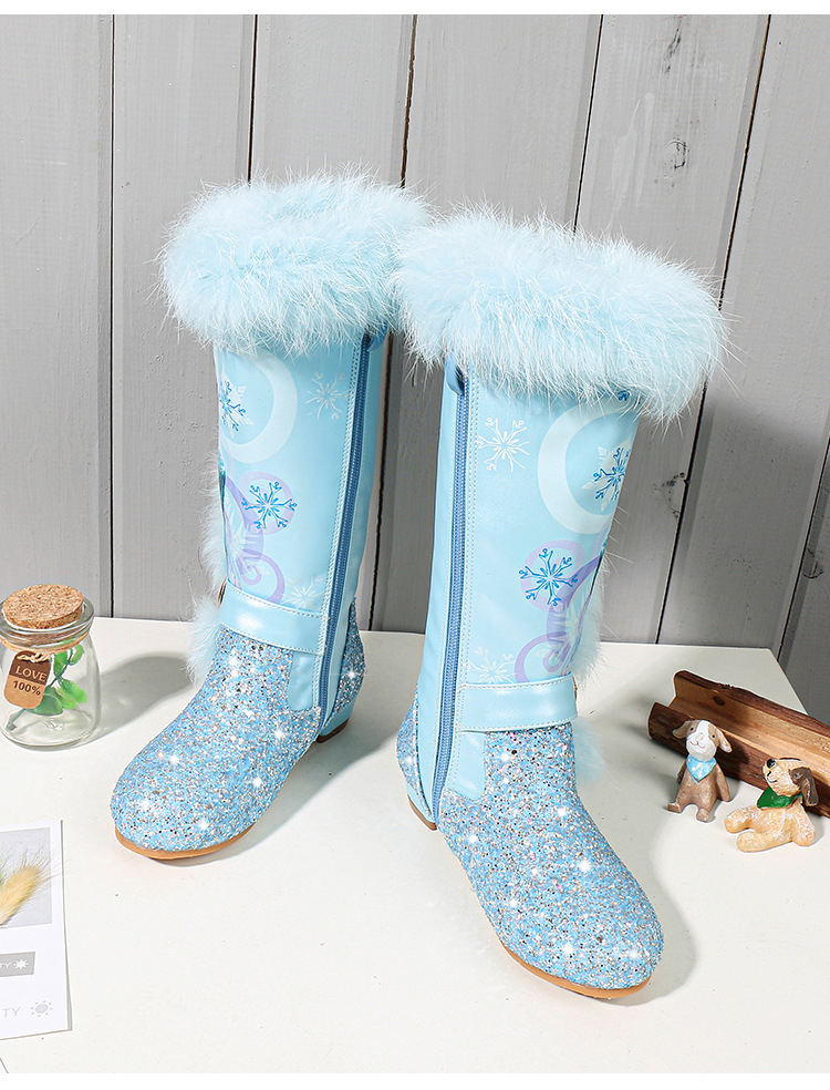 11976356965 918684316 - Elsa princess kids high boots new winter girls boots Brand Children's over the knee boots for girls snow shoes pink blue
