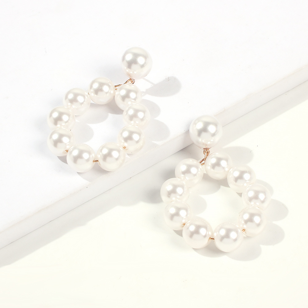 European and American pearl earrings exaggerated ring pearl earrings NHMD184999