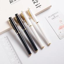 厂家供应 金属质感高档广告中性笔 logo印刷 黑色签字笔定制批发