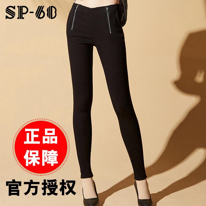 2019春季新款韩国正品sp-68魔术裤v5加绒加厚款黑色修身小脚裤
