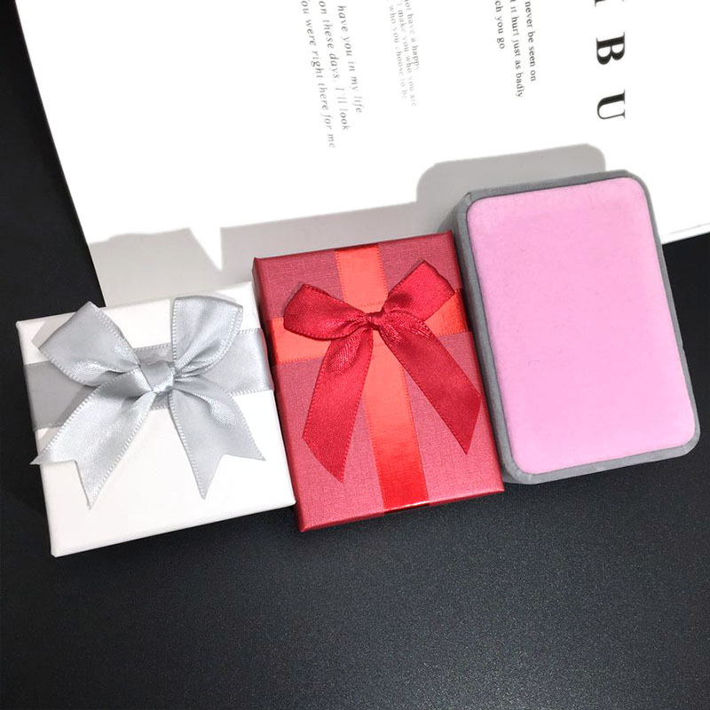 Korean jewelry box fashion simple packaging box allmatch small bow box gift box women jewelry box nihaojewelry NHFT236566