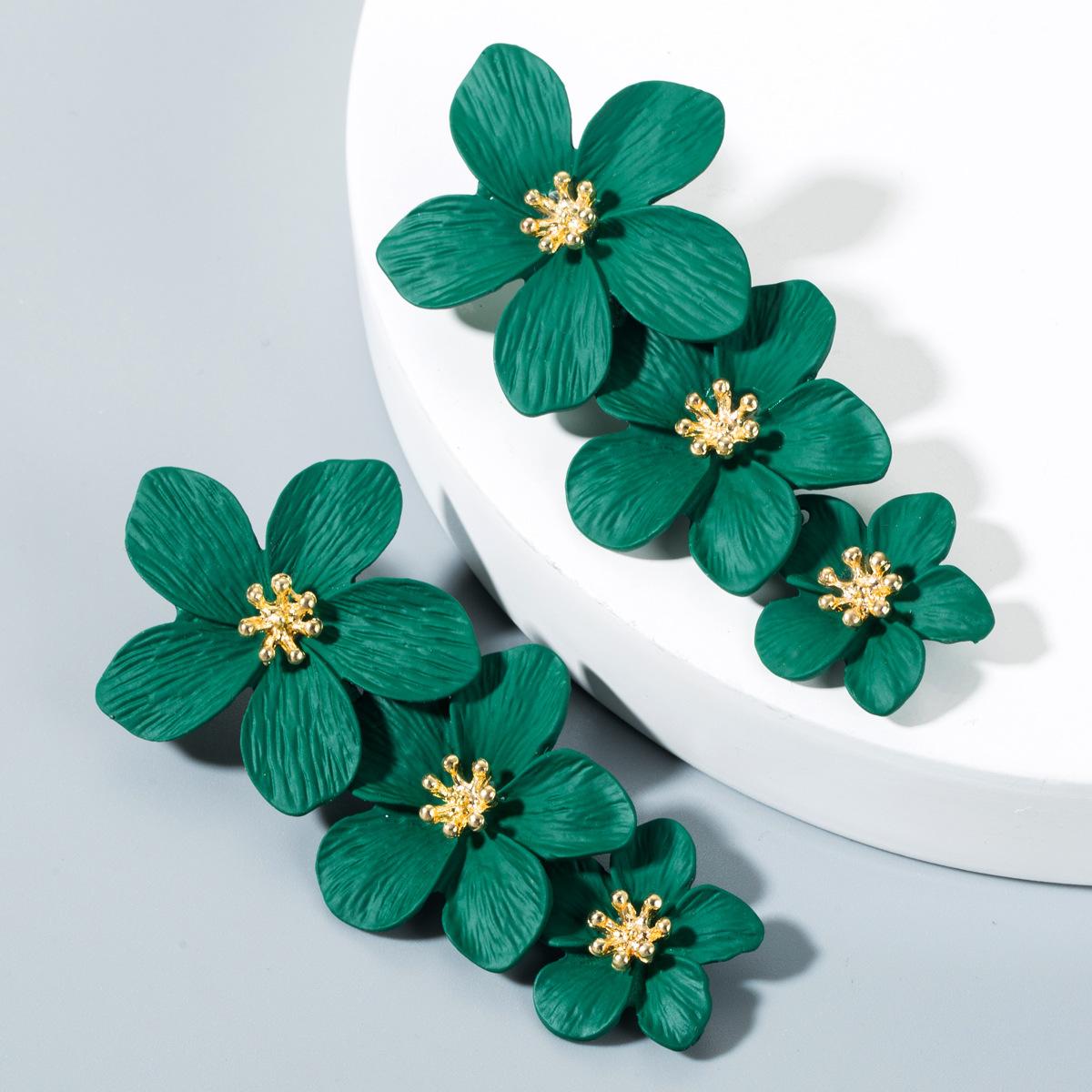 Womens Floral Paint Alloy Earrings NHLN152104
