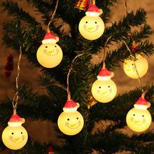 led圣诞老人灯串圣诞节日彩灯装饰灯雪人灯电池灯装饰跨境亚马逊